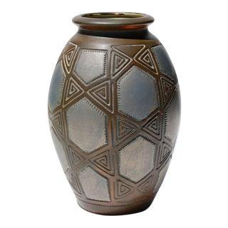 Joseph Mougin Art Deco Metallic Glazed Pottery Vase For Sale