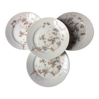Antique French Porcelain Dinner Plates, Limoges - Set of 4 For Sale