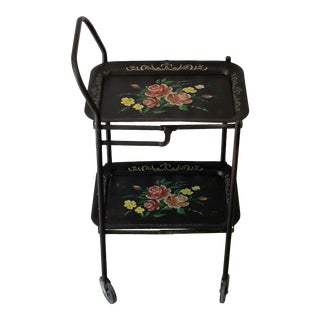1940s Tole Floral Hand Painted Rolling Bar Cart With Removable Trays For Sale