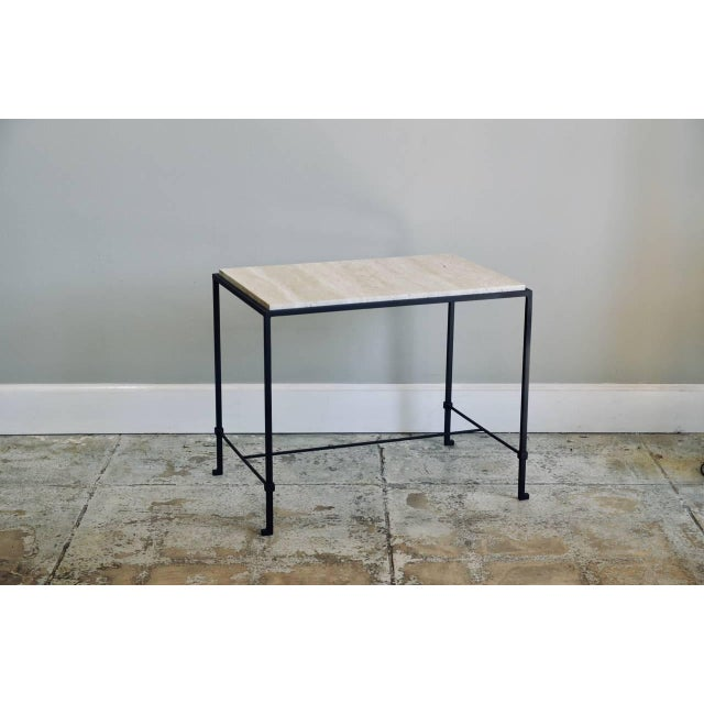 """Contemporary Design Frères """"Diagramme"""" Wrought Iron and Travertine Side Tables - a Pair For Sale - Image 9 of 11"""