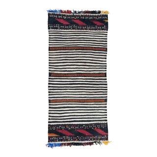 Vintage Mid-Century Black and White Tribal Flatweave Rug - 2′1″ × 4′5″ For Sale