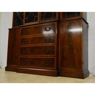 Beacon Hill Mahogany Banded Breakfront Bookcase with Pull-Out Desk Preview