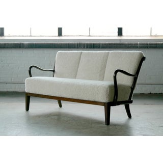 Alfred Christensen 1940s Lambswool Covered Spindle Back Sofa or Settee Preview