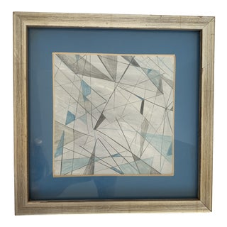 Framed Mid Century Geometric Painting For Sale