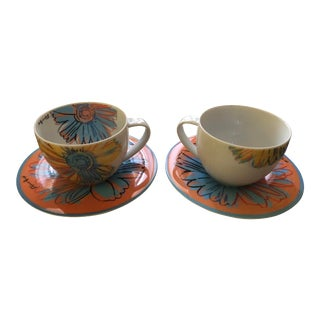 Andy Warhol for Rosenthal Studio Line Daisy Tea Cup and Saucer Set - a Pair For Sale