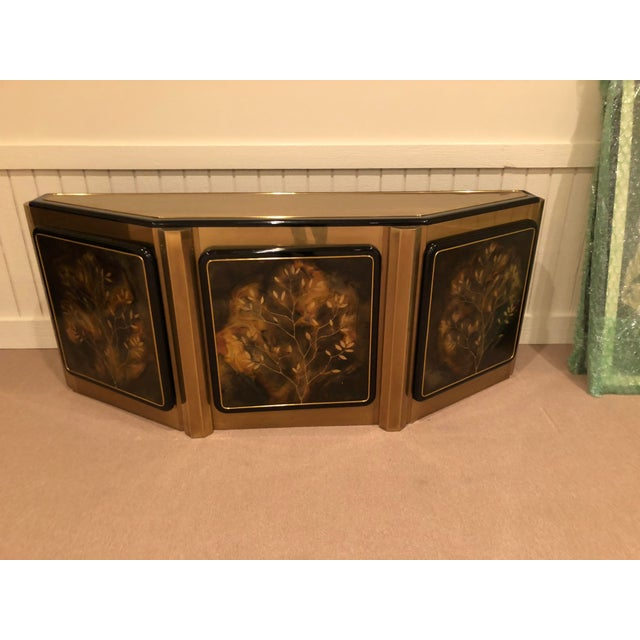 Metal Bernhard Rohne for Mastercraft Tree of Life Solid Brass and Black Lacquer Credenza For Sale - Image 7 of 7