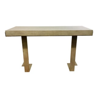 Modern Greige Wood and Metal Console Table For Sale