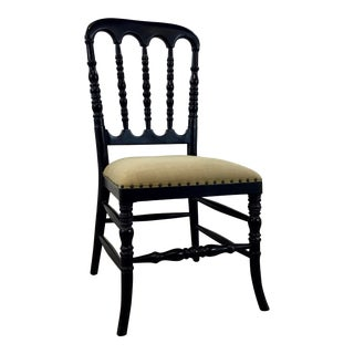 Vintage Style Black Turned Wood Side Chair For Sale