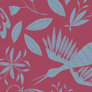 Julia Kipling Otomi Grand Wallpaper, 3 Yards, in Orchid Wave For Sale