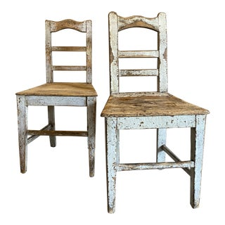 Antique Painted Farm Chairs From Belgium- A Pair For Sale