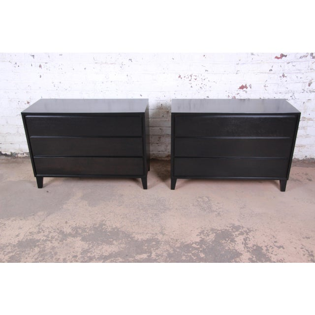 Contemporary Russel Wright for Conant Ball American Modern Ebonized Three-Drawer Bachelor Chests / Nightstands - a Pair For Sale - Image 3 of 9
