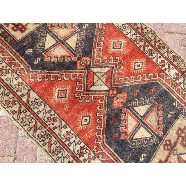 Vintage Hand Knotted Turkish Runner For Sale - Image 4 of 8