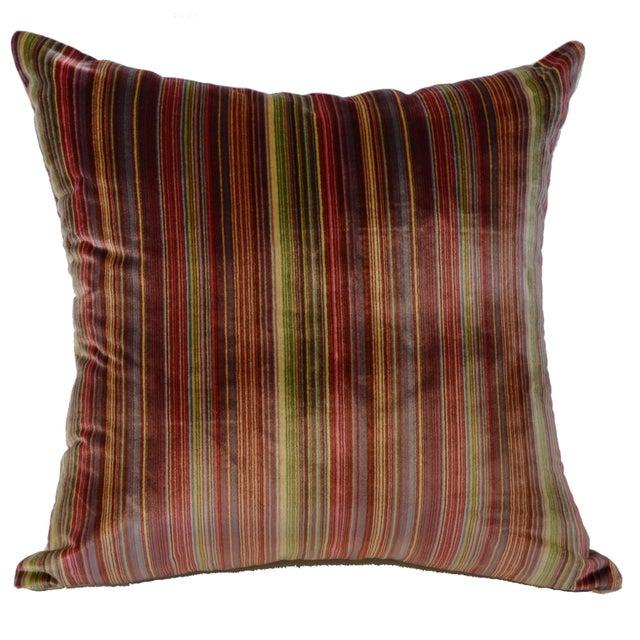 Amazingly stunning 100% Silk rainbow stripe Scalamandré pillow. This pillow has a beautiful cream color silk/cotton wide...