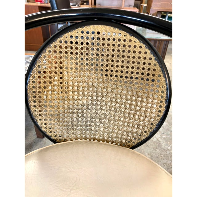 Howell Mfg. Vintage Mid-Century Howell Manufacturing Black Metal Cane Back Chair For Sale - Image 4 of 8
