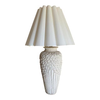 1970s Serges Roche Style Plaster Table Lamp in Overlapping Feathers with Shade For Sale