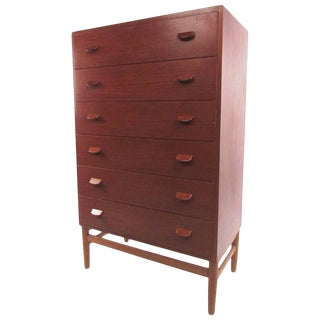 Mid-Century Modern Danish Teak Highboy by Poul Volther For Sale