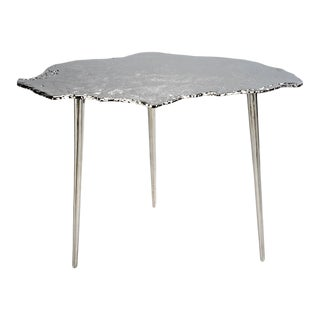 Kenneth Ludwig Chicago Aluminum Wood Slice Side Table For Sale