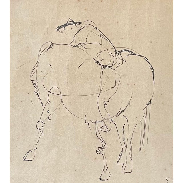 Figurative 1961 Surrealist Style Abstract Graphite Drawing of a Horse by Walter Quirt, Framed For Sale - Image 3 of 9