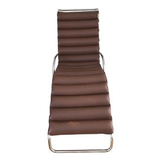 Modern Knoll Mies Van Der Rohe Mr Adjustable Brown Leather Chaise For Sale