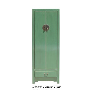 Oriental Distressed Gray Celadon Green Slim Storage Cabinet Preview