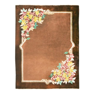 Antique Mongolian Chinese Art Deco Brown Wool Floral Rug - 8′6″ × 11′6″ For Sale