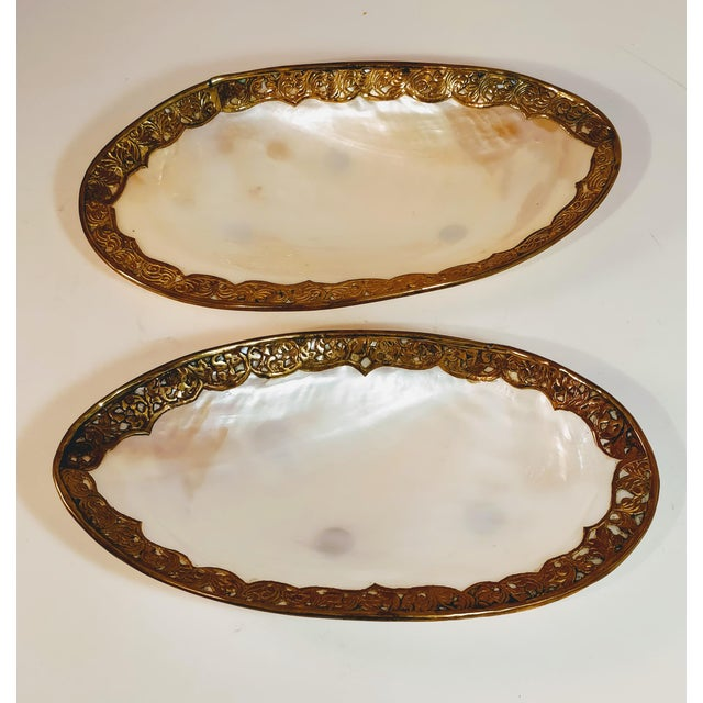 White Vintage Shell & Brass Mother of Pearl Dish Oyster Tray For Sale - Image 8 of 13