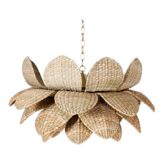 Wicker Lotus Form Light Fixture From the Fs Flores Collection For Sale