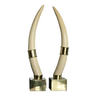 Brass Mounted Faux Tusks by Chapman For Sale