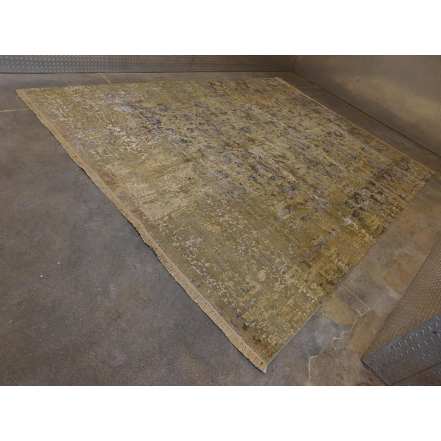 Hand Knotted Indian Wool and Silk Rug - 9'x 12' For Sale - Image 4 of 12