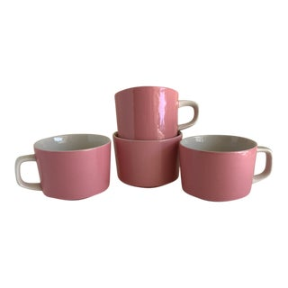 Vintage Mikasa Pink & White Cups, Set of Four For Sale