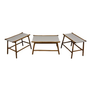 White Bamboo Coffee & End Tables - Set of 3 For Sale