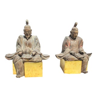 Antique Early Edo Shinto Wooden Priests - a Pair For Sale