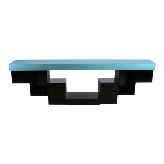 Modern Zig Zag Stepped Plexiglass Clad Console Table or Credenza in Black and Teal For Sale