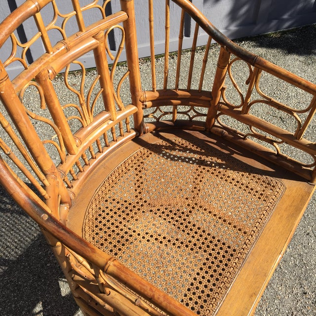 1970s Vintage Brighton Pavilion Bamboo, Ratan and Cane Chairs- Set of 4 For Sale - Image 9 of 13