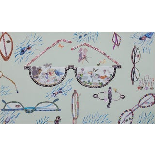 Contemporary Very Large Collage With Glass Motif For Sale