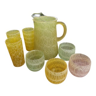 Mid-Century Color Craft Spaghetti String Rubberized Drink Set - 8 Pc. For Sale