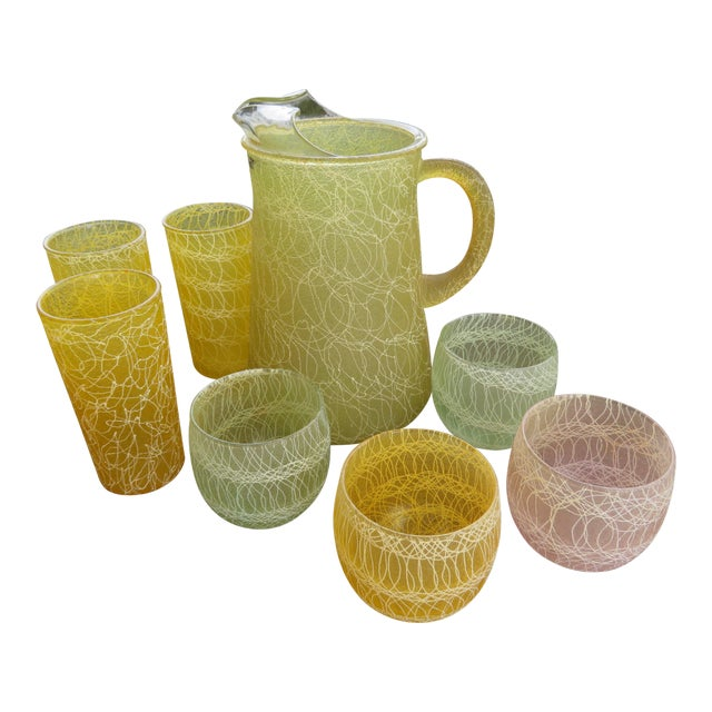Mid-Century Color Craft Spaghetti String Rubberized Drink Set - 8 Piece For Sale