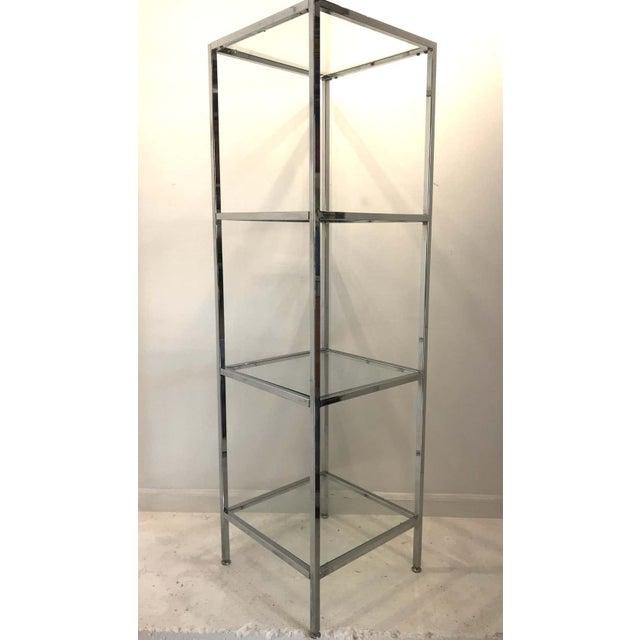 Mid-Century Modern Milo Baughman Style Tall Chrome and Glass Column Étagère For Sale - Image 3 of 10