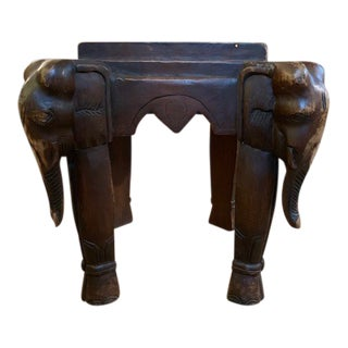 Late 20th Century Vintage Carved Wood Elephant Stool For Sale