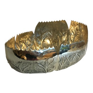 Metal Stamped Branch Bowl For Sale
