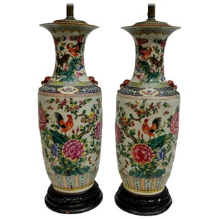 Pair of Antique Chinese Hand-Painted Vase Lamps For Sale