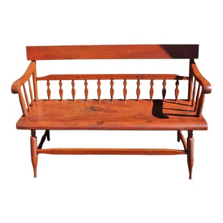 Late 19th Century Original Red Painted Bench Settee For Sale