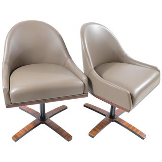 "Umberto Asnago Medea Mobilidea ""Chic"" Swivel Chairs, Pair For Sale"