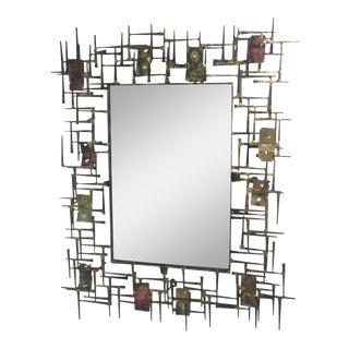 Brutalist Nail & Metal Mirror in the Manner of Silas Seandel
