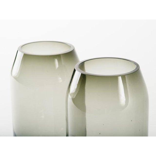 Danish Modern Pair of Danish Modern Smoked Glass Sommerso Vases For Sale - Image 3 of 10