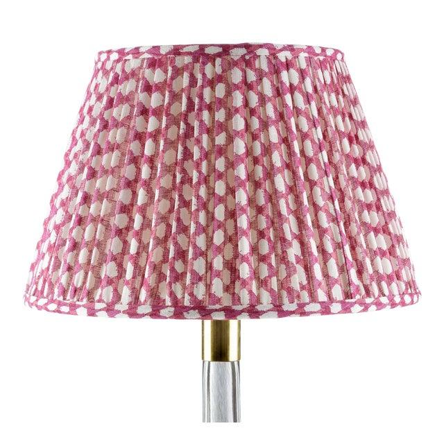 Fermoie Gathered Linen Lampshade in Fuchsia Wicker, 16 Inch For Sale