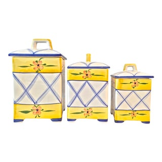 1980s Vintage Hand Painted Canisters- Set of 3 For Sale