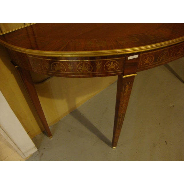Boule Inlaid Demilune Console Tables - A Pair For Sale - Image 10 of 11