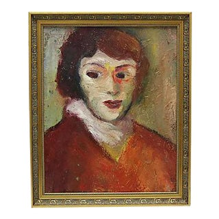 1960s French Oil Painting of a Woman