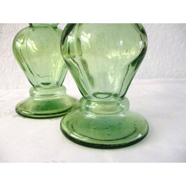 Spanish Lime-Green Glass Candle Holders - a Pair - Image 4 of 7